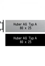 Briefkastenschild Huber, Typ A, 80x25 mm